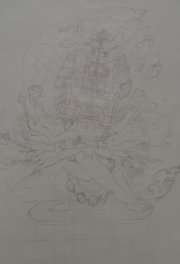 line drawing for yamantaka