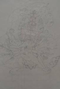 line drawing for yamantaka