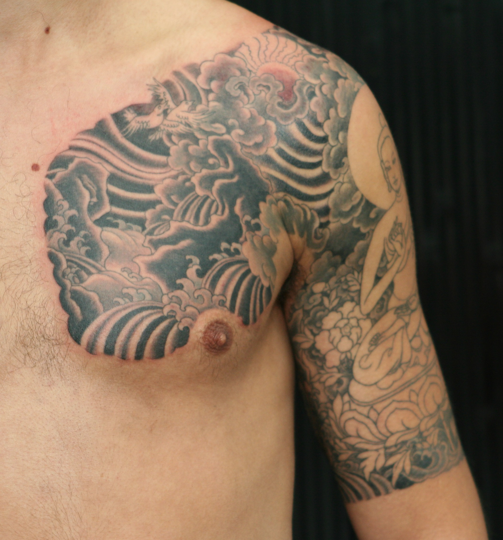 buddha half sleeve and chest