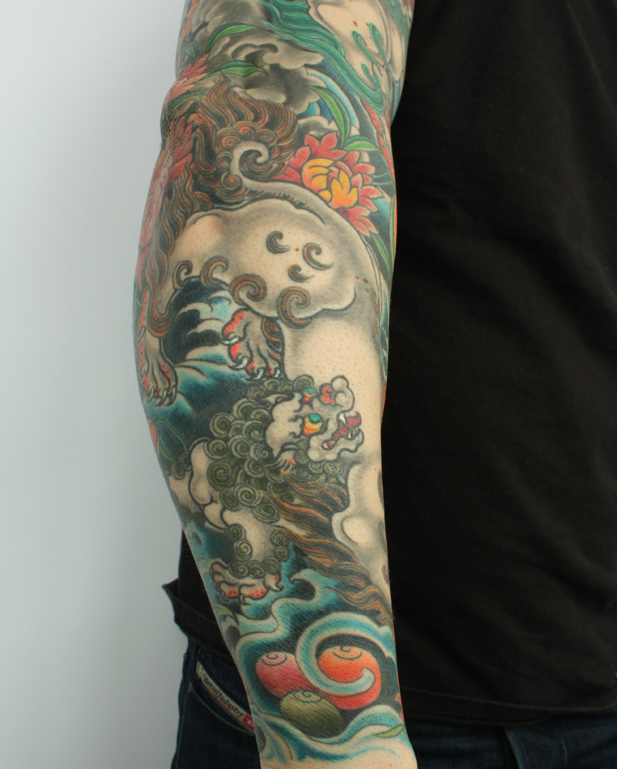 Tattooing Art By Yoni Zilber: Tibetan Style Snow Lion Sleeve