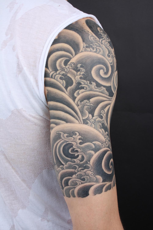 Black and Grey Half Sleeve Tattoo Designs